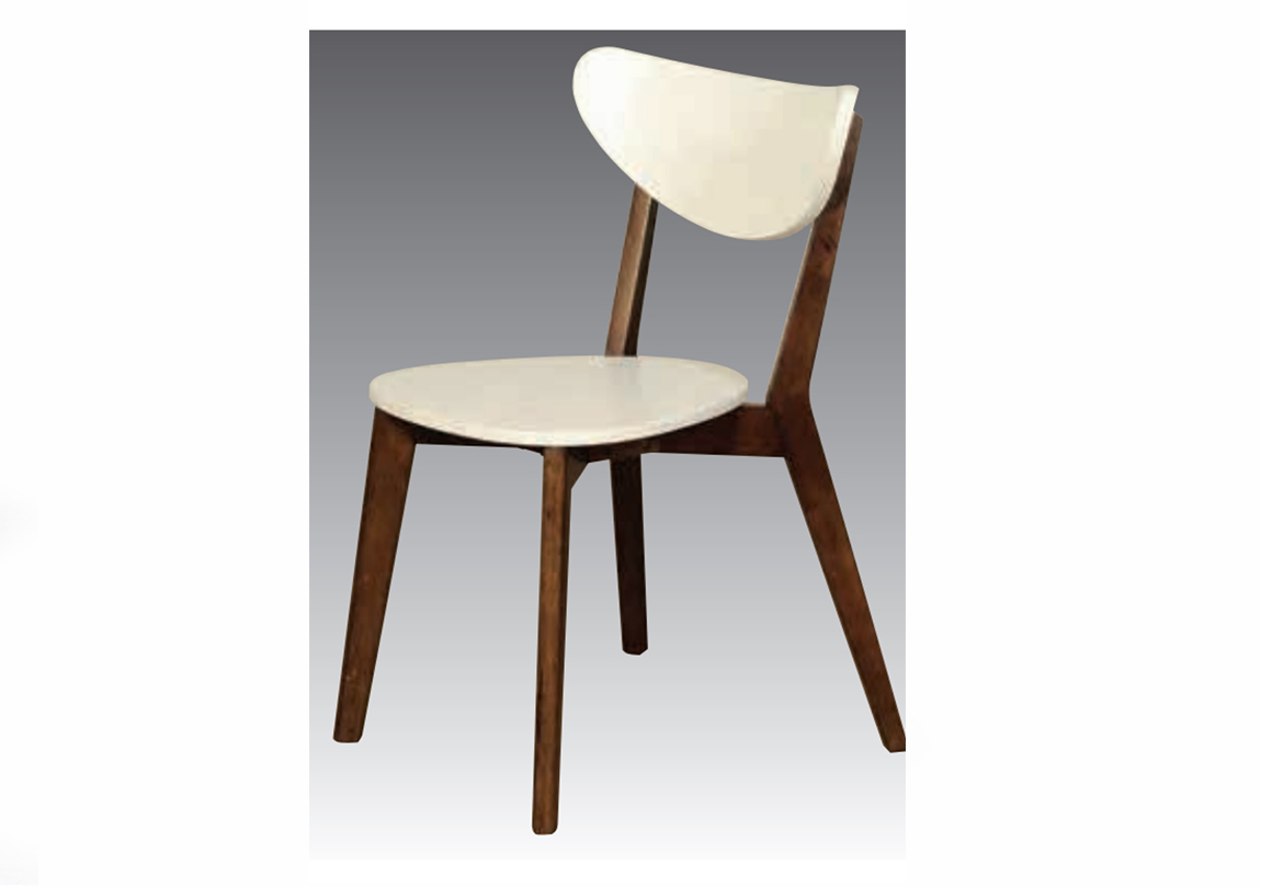 Eva Dining Chair Walnut And White Wood Race Furniture