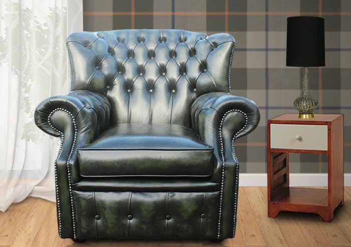 Chesterfield Abbot High Back Wing Chair Antique Green UK Manufactured Armchair & Chesterfield Abbot High Back Wing Chair Antique Green UK ...